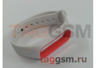 Браслет для Xiaomi Mi Band 2 (белый с красным ободком)