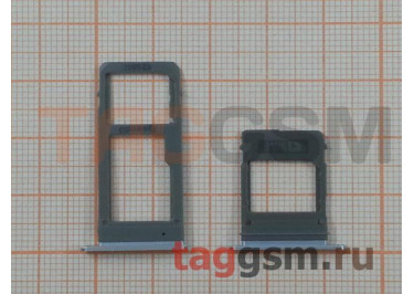 Держатель сим + держатель MicroSD карты для Samsung A520 / A720 Galaxy A5 / A7 (2017) (синий)
