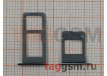 Держатель сим + держатель MicroSD карты для Samsung A520 / A720 Galaxy A5 / A7 (2017) (черный)