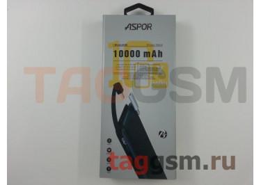 Портативное зарядное устройство (Power Bank) (Aspor A338, 1USB выход +  разъем зарядки micro USB, с переходником lightning) Емкость 10000mAh (черный)