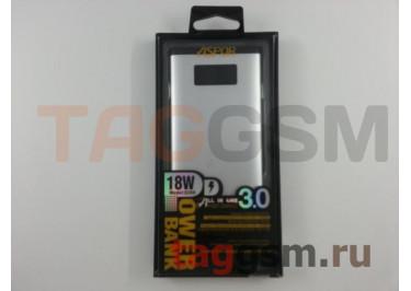 Портативное зарядное устройство (Power Bank) (Aspor Q389), USB 3.0 / Type-C Емкость 10000mAh (серебро)