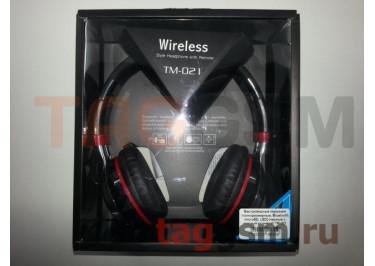 Беспроводные наушники (полноразмерные, Bluetooth, microSD, LED) (черные с красной вставкой) TM-021