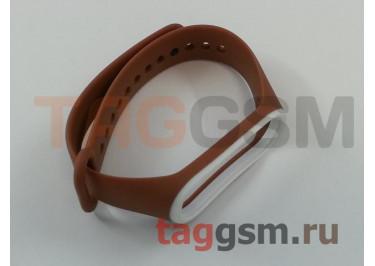 Браслет для Xiaomi Mi Band 3 / 4 (коричневый с белой вставкой)