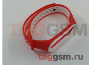 Браслет для Xiaomi Mi Band 3 / 4 (красный, с белыми кругами)