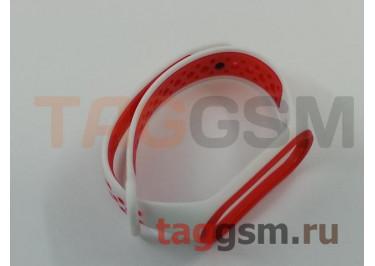 Браслет для Xiaomi Mi Band 3 / 4 (белый, с красными кругами)