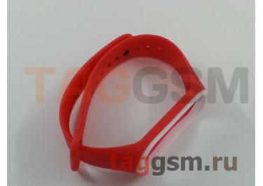 Браслет для Xiaomi Mi Band 3 / 4 (красный с белой вставкой)