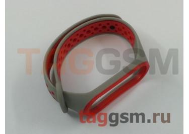 Браслет для Xiaomi Mi Band 3 / 4 (серый, с красными кругами)
