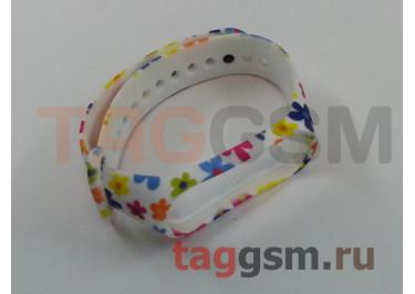 Браслет для Xiaomi Mi Band 3 / 4 (белый, маленькие цветы)