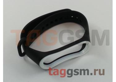 Браслет для Xiaomi Mi Band 3 / 4 (черный с белой вставкой)