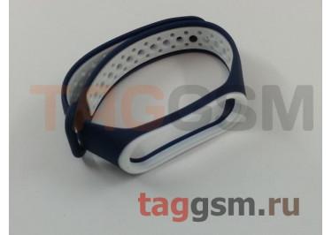 Браслет для Xiaomi Mi Band 3 / 4 (синий, с белыми кругами)