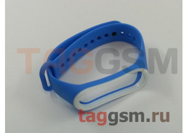 Браслет для Xiaomi Mi Band 3 / 4 (синий с белой вставкой)