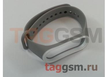 Браслет для Xiaomi Mi Band 3 / 4 (серый с белой вставкой)