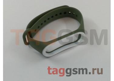 Браслет для Xiaomi Mi Band 3 / 4 (зеленый с белой вставкой)