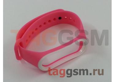 Браслет для Xiaomi Mi Band 3 / 4 (розовый с белой вставкой)