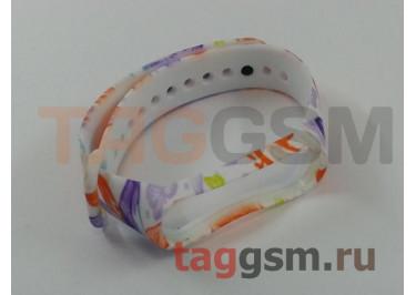 Браслет для Xiaomi Mi Band 3 / 4 (белый, с оранжево-сиреневыми цветами)