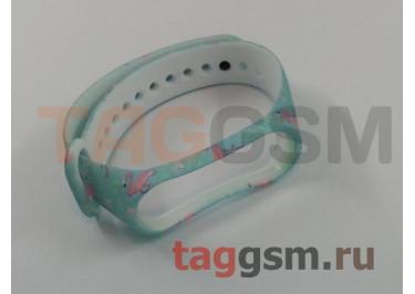 Браслет для Xiaomi Mi Band 3 / 4 (бирюзовый, фламинго)