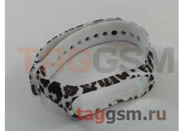 Браслет для Xiaomi Mi Band 3 / 4 (белый, леопард)