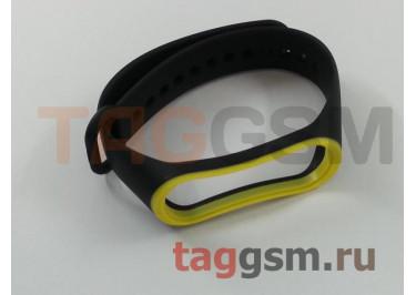 Браслет для Xiaomi Mi Band 3 / 4 (черный с желтой вставкой)