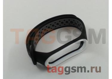 Браслет для Xiaomi Mi Band 3 / 4 (черный, с серыми кругами)