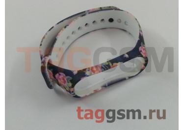 Браслет для Xiaomi Mi Band 3 / 4 (синий, с розовыми цветами)