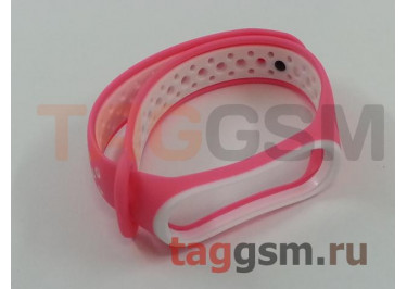Браслет для Xiaomi Mi Band 3 / 4 (розовый, с белыми кругами)