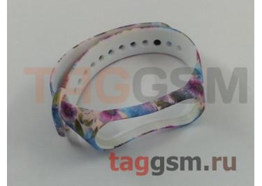 Браслет для Xiaomi Mi Band 3 / 4 (белый, с розово-голубыми цветами)