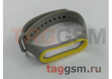 Браслет для Xiaomi Mi Band 3 / 4 (серый с желтой вставкой)