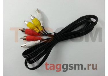 Переходник 3xRCA - 3xRCA (черный) Mirex
