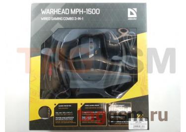 Комплект проводной Defender Warhead MPH-1500 (мышь+коврик+гарнитура) (черный)
