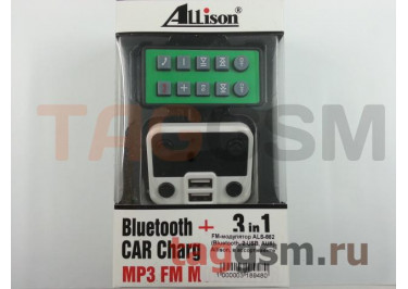 FM-модулятор ALS-662 (Bluetooth, 2 USB, AUX) Allison, в ассортименте