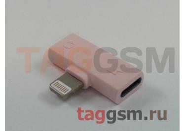 Переходник Lightninig 2 в 1 (наушники Lightning, зарядка Lightning), розовый