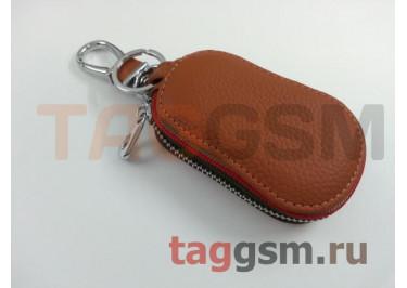 Чехол для автомобильных ключей Hundai (кожа) (коричневый) тип 2