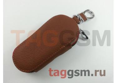 Чехол для автомобильных ключей Honda (кожа) (коричневый) тип 1