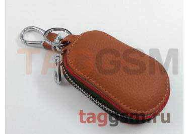 Чехол для автомобильных ключей Kia (кожа) (коричневый) тип 2
