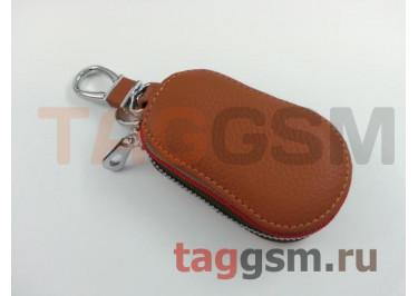 Чехол для автомобильных ключей Mazda (кожа) (коричневый) тип 2