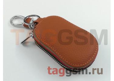 Чехол для автомобильных ключей Jeep (кожа) (коричневый) тип 2