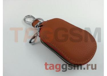 Чехол для автомобильных ключей Land Rover (кожа) (коричневый) тип 2