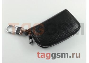 Чехол для автомобильных ключей Jaguar (кожа) (черный) тип 1
