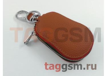 Чехол для автомобильных ключей Porsche (кожа) (коричневый) тип 2