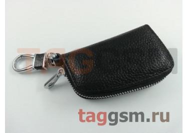 Чехол для автомобильных ключей Jeep (кожа) (черный) тип 1