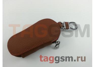 Чехол для автомобильных ключей Jeep (кожа) (коричневый) тип 1