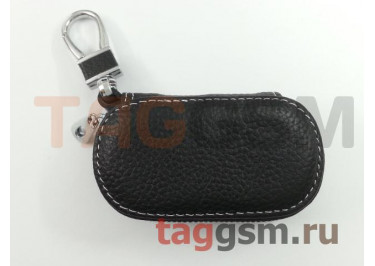 Чехол для автомобильных ключей (кожа) (черный)