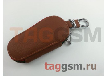 Чехол для автомобильных ключей Nissan (кожа) (коричневый) тип 1