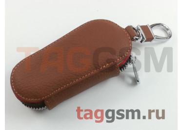 Чехол для автомобильных ключей Mitsubishi (кожа) (коричневый) тип 1