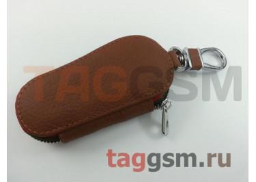 Чехол для автомобильных ключей Audi (кожа) (коричневый) тип 1