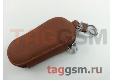 Чехол для автомобильных ключей Ford (кожа) (коричневый) тип 1