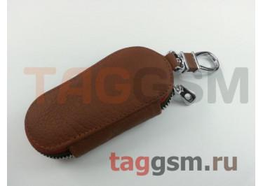 Чехол для автомобильных ключей Citroen (кожа) (коричневый) тип 2