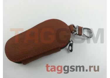 Чехол для автомобильных ключей Land Rover (кожа) (коричневый) тип 1