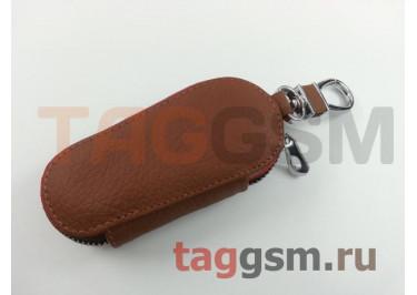 Чехол для автомобильных ключей Mazda (кожа) (коричневый) тип 1