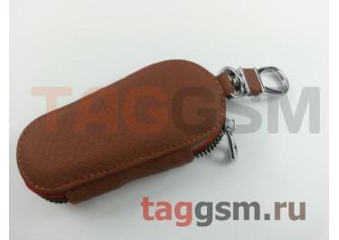 Чехол для автомобильных ключей Chevrolet (кожа) (коричневый) тип 1